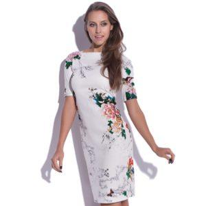 Sukienka midi z wzorem kwiatowym
