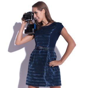 Robe mini en mousseline de soie Delight bleu foncé