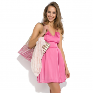 Robe mini en soie naturelle rose Sheer Attraction