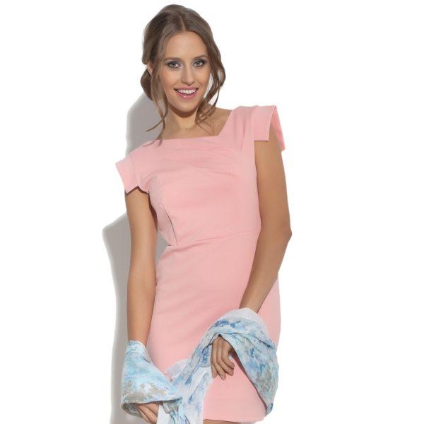 Sukienka mini z asymetrycznym dekoltem