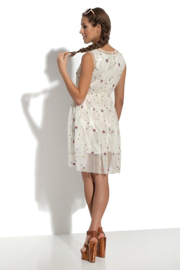 Sukienka tiulowa mini haftowana Crazy Daisy modelka back