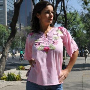 Tunika meksykańska haftowana, różowa Alegría icon