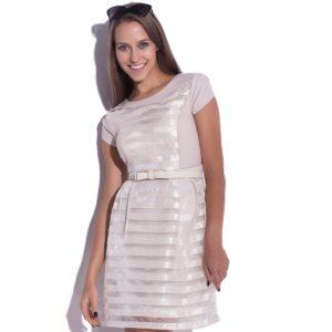 Sukienka szyfonowa mini kremowa