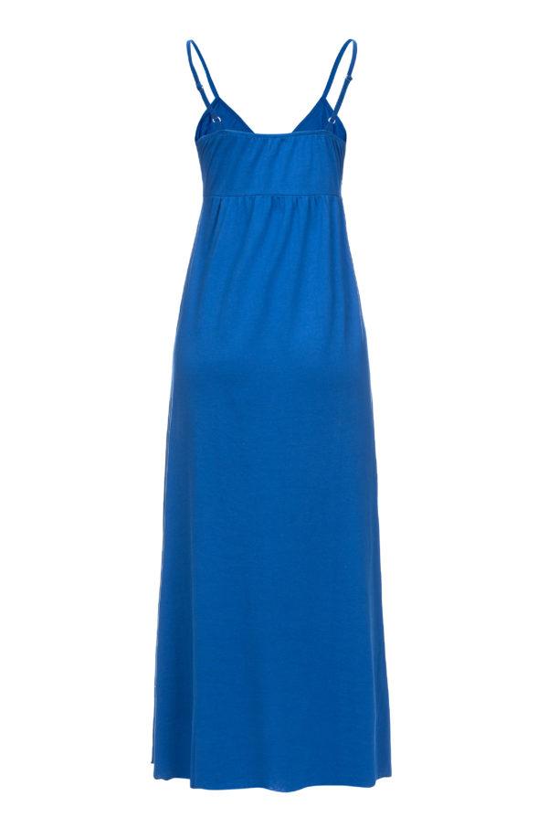 Sukienka bawelnianamaxi na ramiaczkach niebieska packshot back