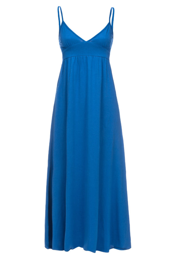 Sukienka bawelnianamaxi na ramiaczkach niebieska packshot front