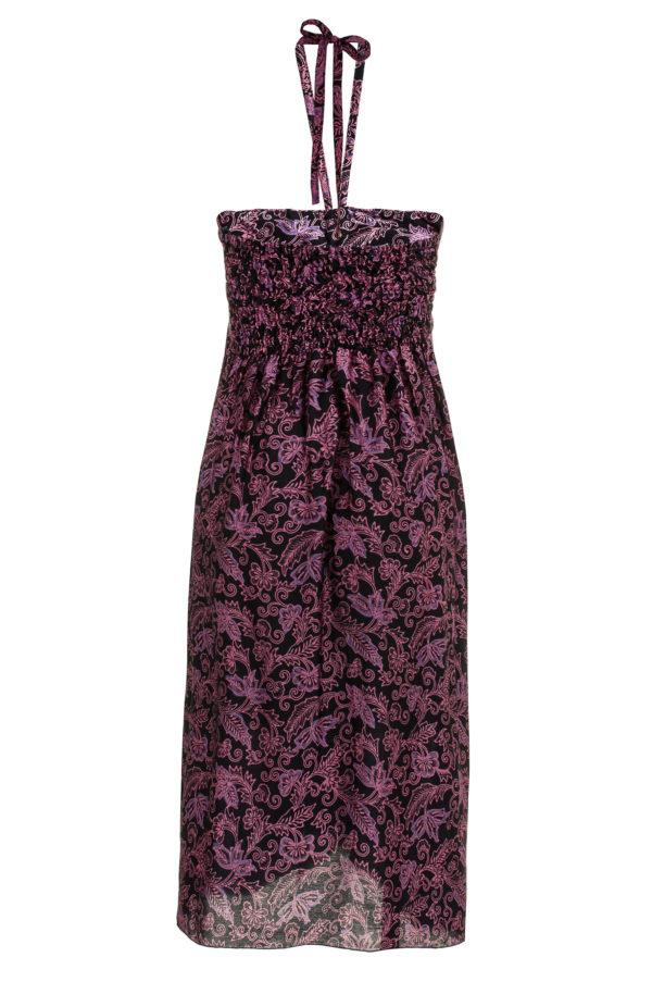 Sukienka jedwabna midi, podkreślająca dekolt, wiązana na szyi, packshot back
