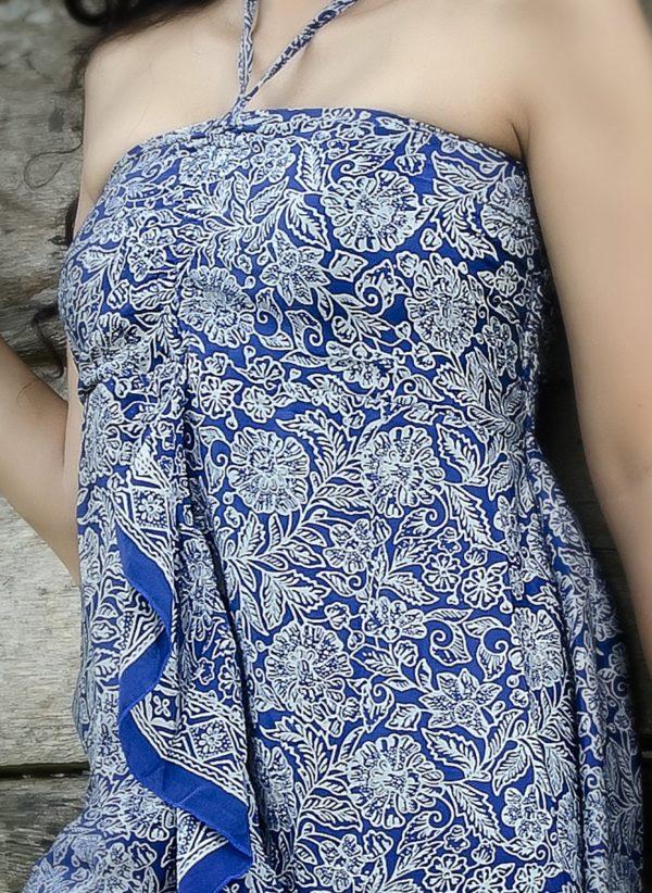 Sukienka jedwabna midi z wiązaniem na szyi i falbaną Kintamani modelka zoom