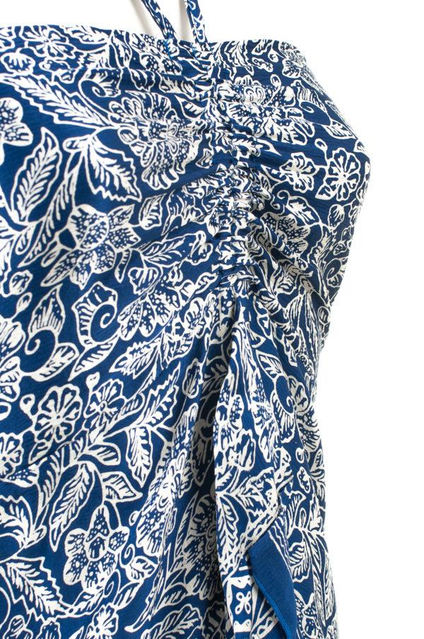 Sukienka jedwabna midi z wiązaniem na szyi i falbaną Kintamani packshot zoom