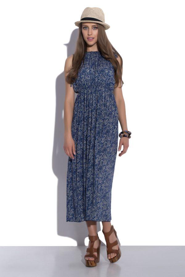 Sukienka letnia maxi elastyczna w pasie modelka front