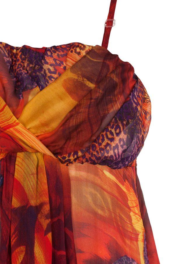 Sukienka maxi jedwabna w kolorze ognia packshot zoom