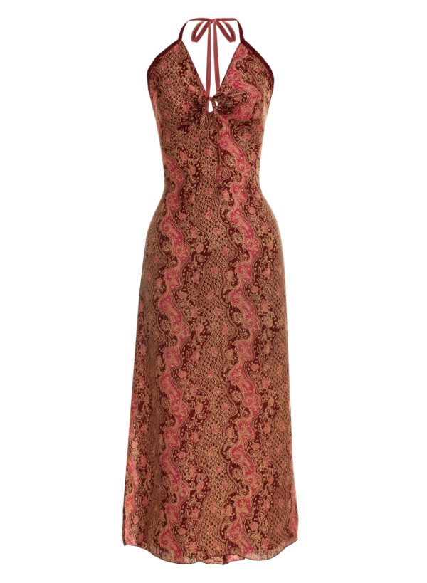 Sukienka maxi z naturalnego jedwabiu z wiązaniem na szyi i profilowanym dekoltem Singaraja packshot front