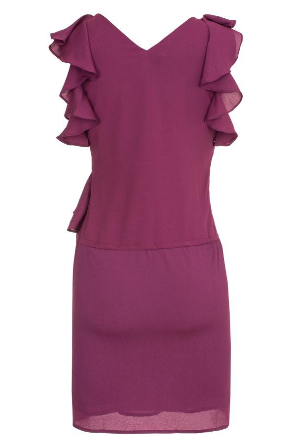 Sukienka mini z falbanami i dekoltem w kształcie litery V packshot back