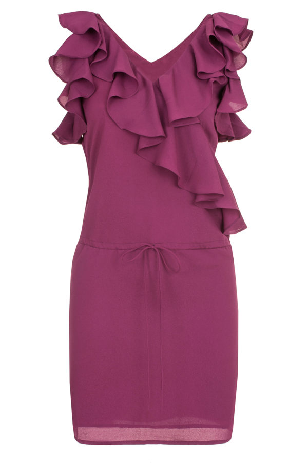 Sukienka mini z falbanami i dekoltem w kształcie litery V packshot front