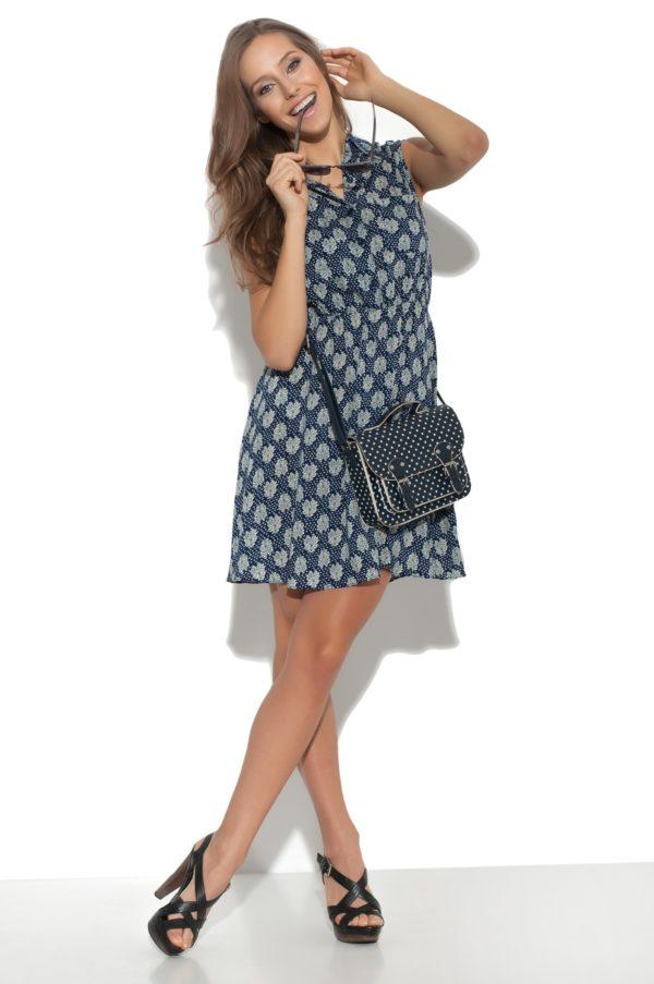 Sukienka bawelniana z motywem model front