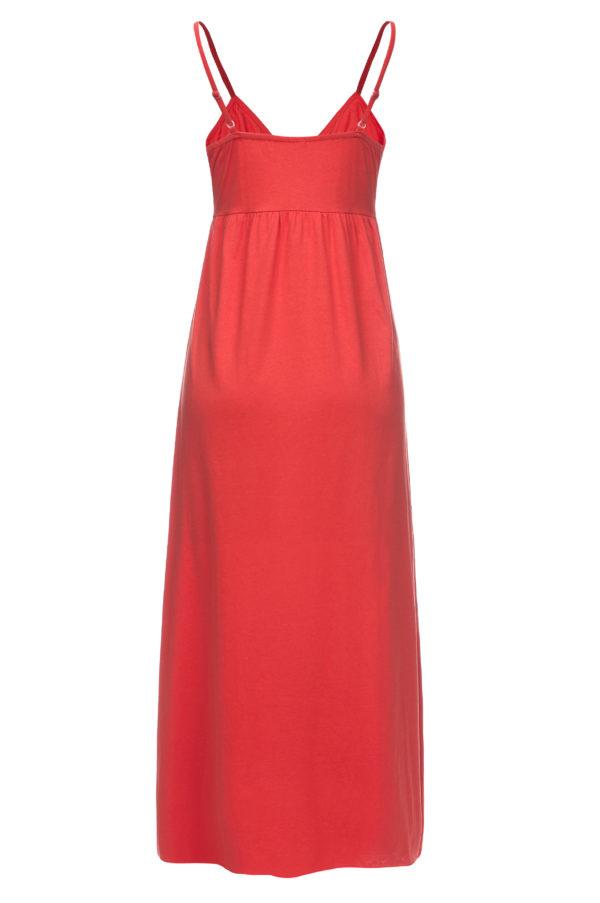 Sukienka letnia maxi na ramiaczkach pomaranczowa packshot back