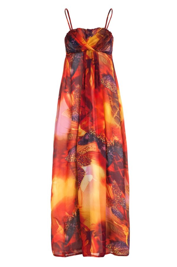 Sukienka maxi jedwabna w kolorze ognia packshot front