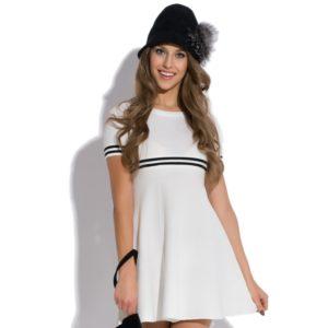 Sukienka mini dzianinowa z krótkim rękawem