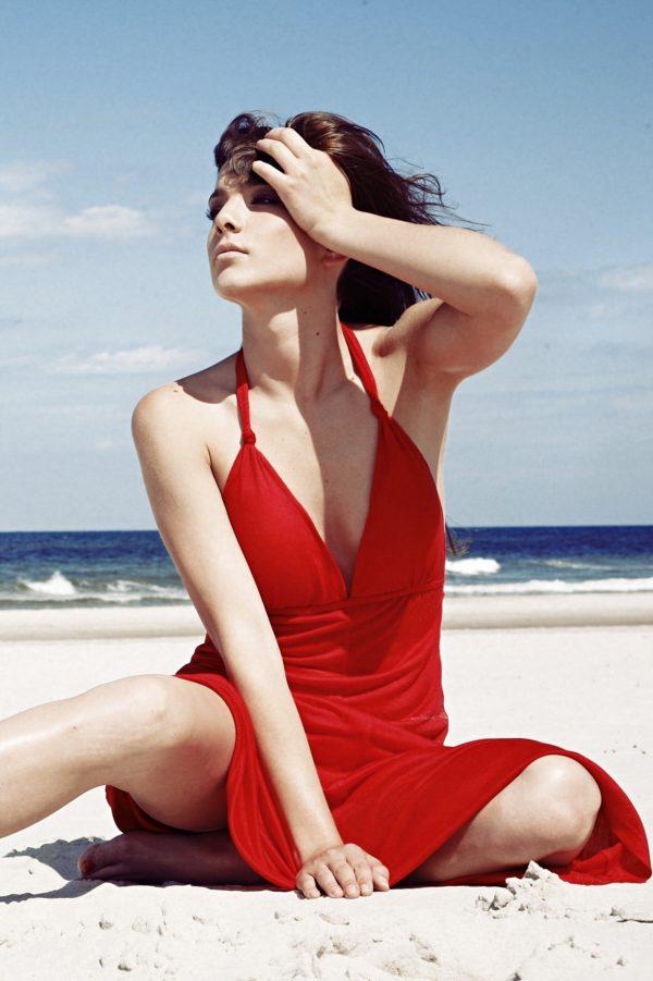 Sukienka maxi bawelniana z usztywnionym biustonoszem model 1