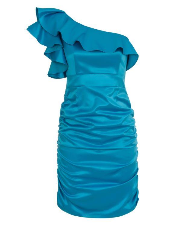Sukienka satynowa na jedno ramię packshot front