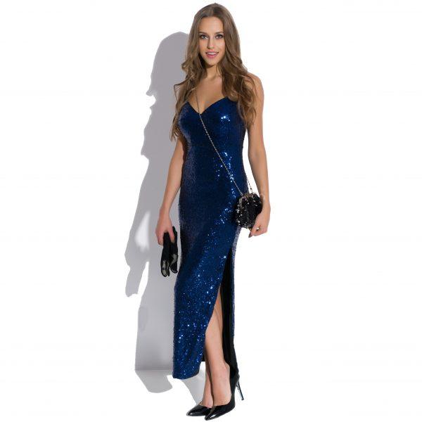 Sukienka cekinowa maxi na ramiączkach Queen of the Night