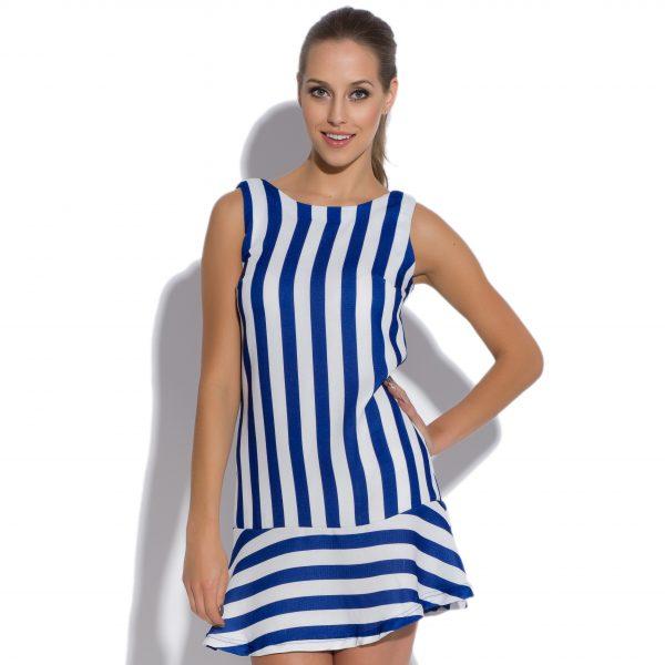 robe à rayures bleues Robe à rayures bleues, sans manches Striation