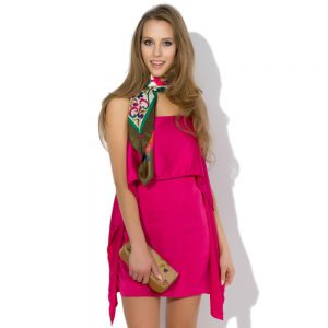 Pink silk dress with straps Accent
