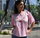 Mexican embroidered tunic Alegría pink