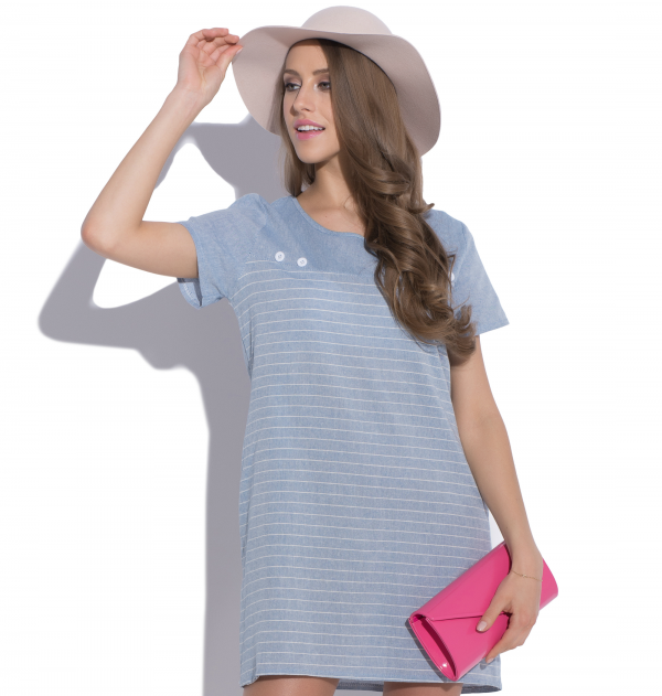 robe en lin grey matter blue